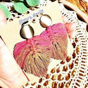 Bohemian leaf studs earrings pink Tassel and gold
